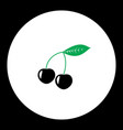 Cherries fruit simple black and green icon eps10 vector image