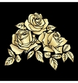 Golden silhouette of rose vector image