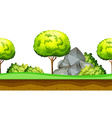 Nature scene with tree and rocks vector image