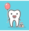 Babytooth with soother and balloon vector image