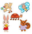 cute spring animals vector image