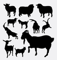 Goat and sheep pet animal silhouette vector image