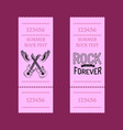 summer rock fest set of tickets isolated on purple vector image