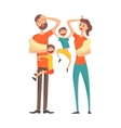 Tired Young Parents With two Babies And Two Older vector image