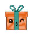 kawaii gift box wrapped ribbon bow decoration vector image
