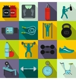 Gym icons set flat style vector image