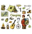 camping equipment set outdoor adventure hiking vector image