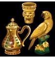 Golden vase jar and figurine parrot vector image