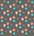 hand drawn pattern with cute cat vector image