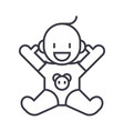smile newborn with opened hands line ico vector image
