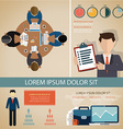 Teamwork infographic set with business avatars and vector image