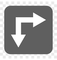 Bifurcation Arrow Right Down Rounded Square Button vector image