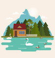 summer landscape with forest house on the lake vector image