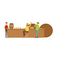 smiling men drinking beer in a bar or pub vector image