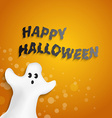funny ghost shape with Happy Halloween message vector image