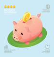 Infographic business currency money coins piggy vector image