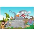 Collection dinosaur with caveman waving vector image