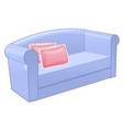 blue sofa with pink pillow isolated on white vector image