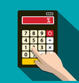 Calculator with percent symbol and human hand vector image