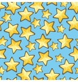 Cartoon stars against blue background Seamless vector image
