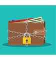 Closed brown leather wallet with dollar cash vector image