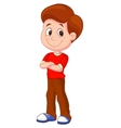 Cute boy cartoon standing vector image