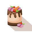 delicious cake dessert chocolate and strawberry vector image