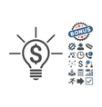 Financial Idea Bulb Flat Icon With Bonus vector image