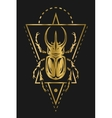Golden rhinoceros beetle and geometric vector image