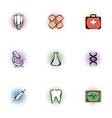 Medicine icons set pop-art style vector image