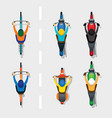 people on motorcycles and bicycles top or above vector image
