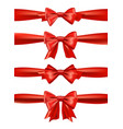 set of red satin bows ribbons for gift vector image