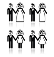 Wedding married couple bride and groom icons set vector image