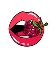 glossy woman lips with raspberry sticker vector image