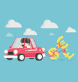 business people are happy to drive a car happy vector image