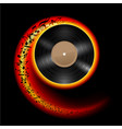 vinyl disc with music notes flying out in spiral vector image