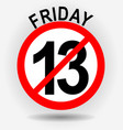 Friday 13th circle emblem with unfortunate number vector image