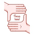 Hands taking focus frame vector image vector image