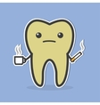 Sad dark tooth with coffee and cigarette vector image
