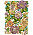 Colored hand drawn pattern with flowers Zentangle vector image
