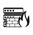 Database and firewall icon simple style vector image