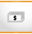 banknotes with dollar sign web flat icon vector image