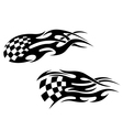 Chequered flag with black flames vector image