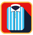 fashionable striped man shirt flat icon vector image