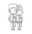 figure doctor and nurse to help people vector image