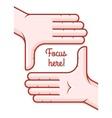 Hands taking focus frame vector image
