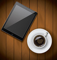New realistic tablet mockup template with coffee vector image