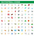 100 football icons set cartoon style vector image