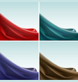 set of colored silky cloth crease wavy folds vector image