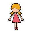 Cute pink girl cartoon vector image